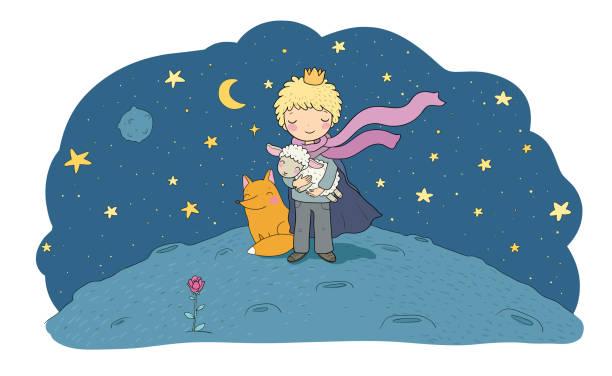 stockillustraties, clipart, cartoons en iconen met de kleine prins. een sprookje over een jongen, een roos, een planeet en een vos. vector - klein