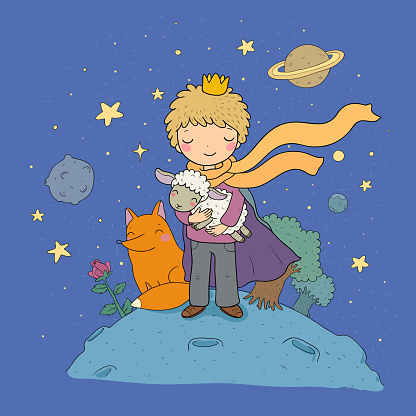 The Little Prince.A fairy tale about a boy, a rose, a planet and a fox. Vector