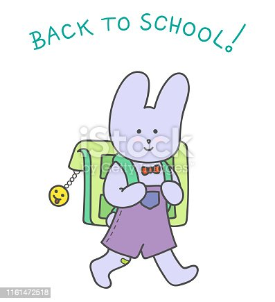 Back to school. The little smiling Rabbit with Bow tie,  Adhesive bandage on the knee holding his Backpack with Cataphote Smiley and goes to school
