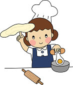 Cartoon of the little young girl try to bake the bread in her bakery class. Simple cute hand draw line vector and minimal icons flat style character illustration.