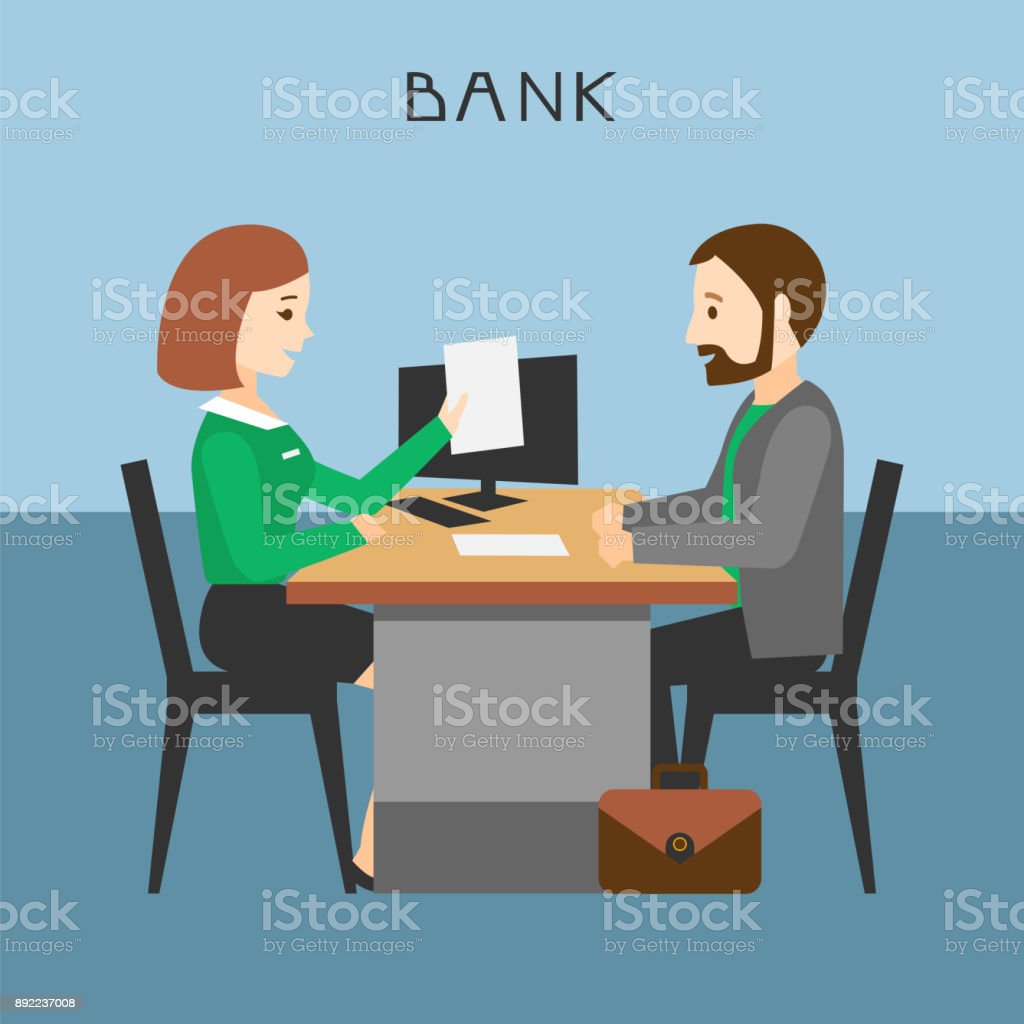 The loan processing. vector art illustration