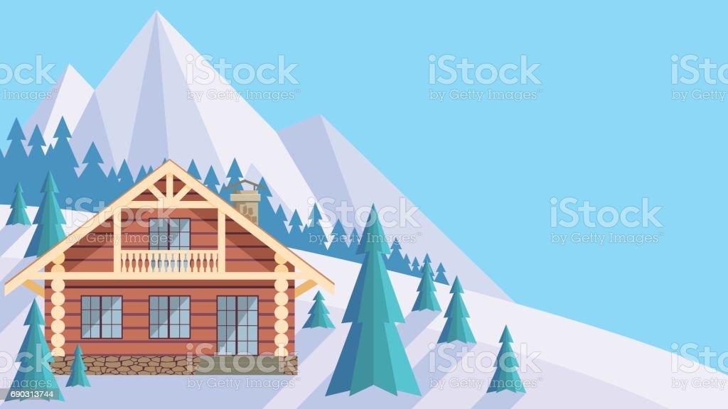 the log cabin vector art illustration