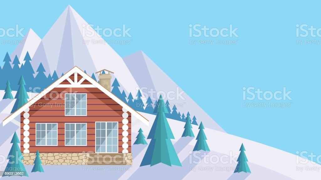 the log house vector art illustration