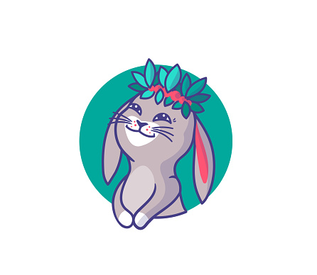 The logo of a bunny-girl in a wreath of leaves. Happy cartoonish rabbit