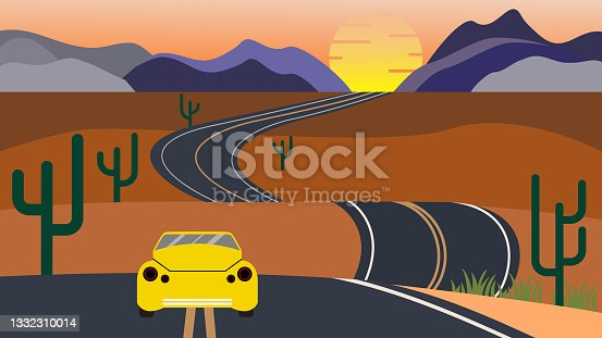 istock The long and winding road that leads to horizon with a lonely car 1332310014
