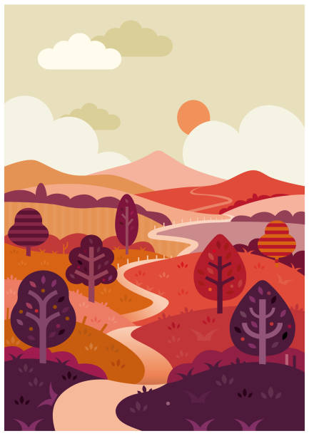 The long and winding road vector illustration vector art illustration
