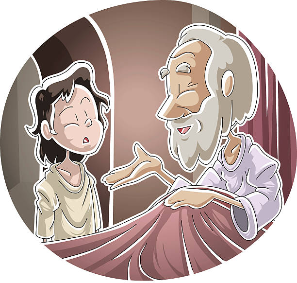 The Lord calls Samuel vector art illustration