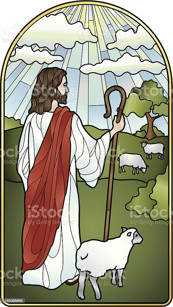 The Lord is My Shepherd Stained Glass royalty-free stock vector art