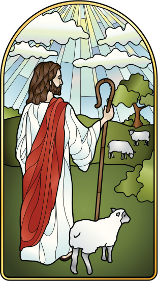 The Lord is My Shepherd Stained Glass