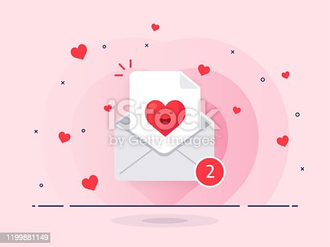istock The love letter in mail envelope. White mail envelope with red marker new messages. 1199881149