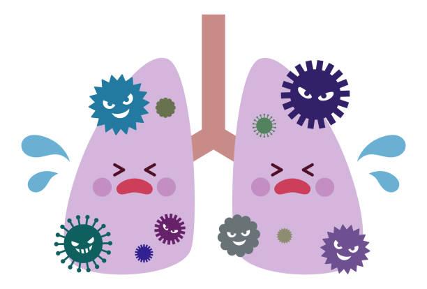 ウイルスに感染した人の肺 ベクターアートイラスト
