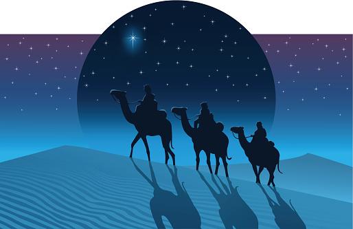 The Magi from the east follow the Star of Bethlehem
