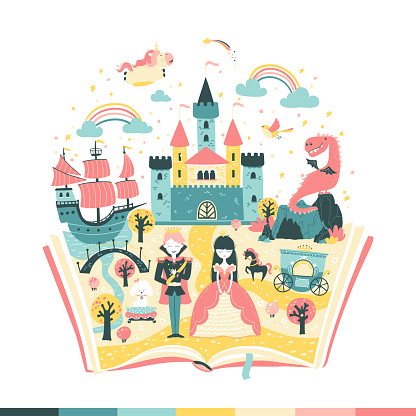 The magic book is a fairy tale. The story of the princess and the prince. The magic kingdom. Vetoonaya illustration in simple hand-drawn Scandinavian style