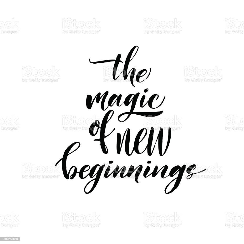 The magic of new beginnings card. vector art illustration