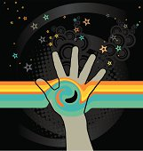 Open hand interferes horizontal stripes creating a swirl. Stars leaving the hand. Magic, pray, recieve, give, energy.