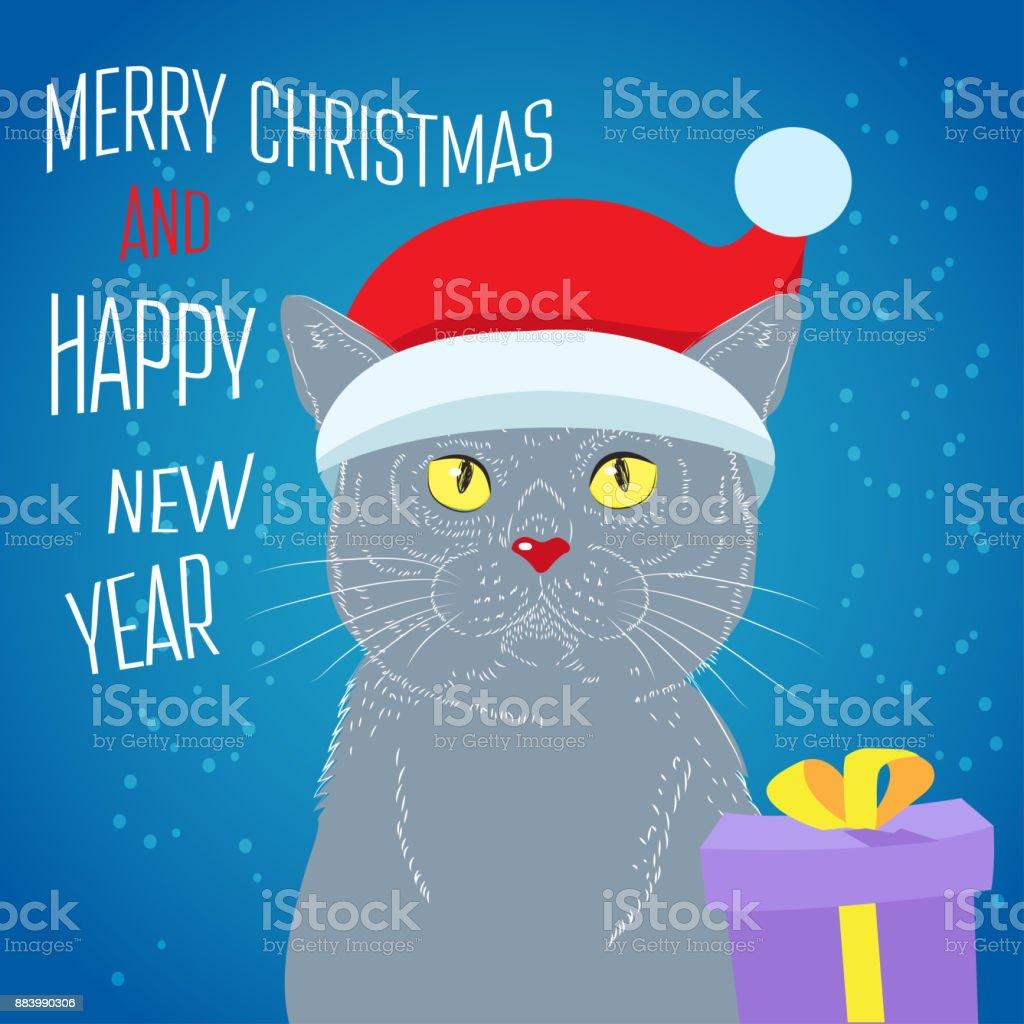 El gato de Navidad mágica. Británico de pelo corto gato mano dibujar Vector esbozo ilustraciones. - ilustración de arte vectorial