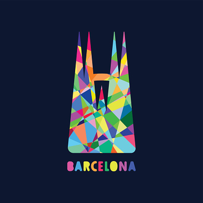 The main architectural symbol of Barcelona. Abstract sight illustration.