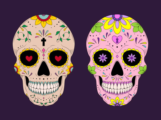 The main symbols of the holiday on the dark background. Day of the dead. Vector illustration background. The main symbols of the holiday on the dark background. Day of the dead. Vector illustration background. main de dieu stock illustrations