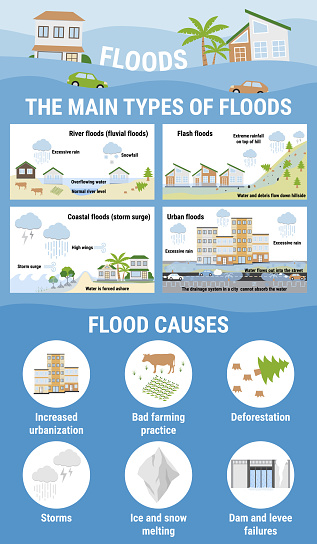 The main types of floods and flood causes. Flooding infographic. Flood natural disaster with rainstorm, weather hazard. Houses, cars, trees, covered with water. Global warming concept.