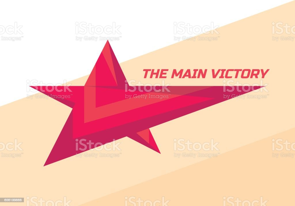 The main victory - vector sign template concept illustration. Red star creative graphic sign. Winner award symbol. Design element. Abstract background. vector art illustration