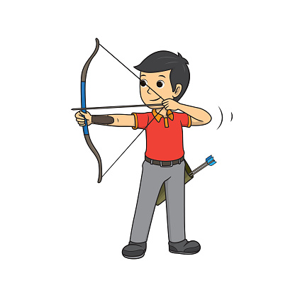 The male archery athlete in a red shirt was bowing the bow in an archery competition.