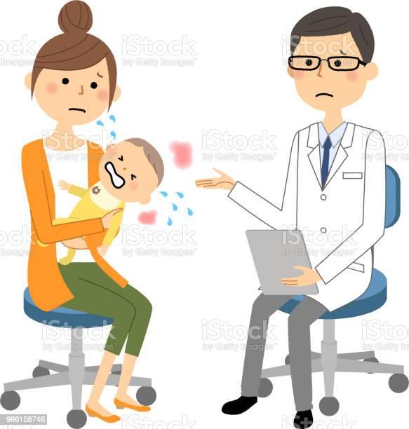 Manlign Av Vita Pälsen Läkarundersökning Baby-vektorgrafik och fler bilder på Bebis