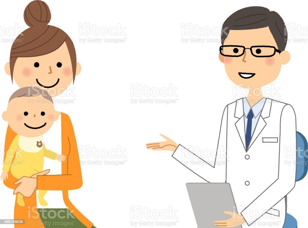 Das Männchen des weißen Mantels, ärztliche Untersuchung, Baby - Lizenzfrei Arzt Vektorgrafik