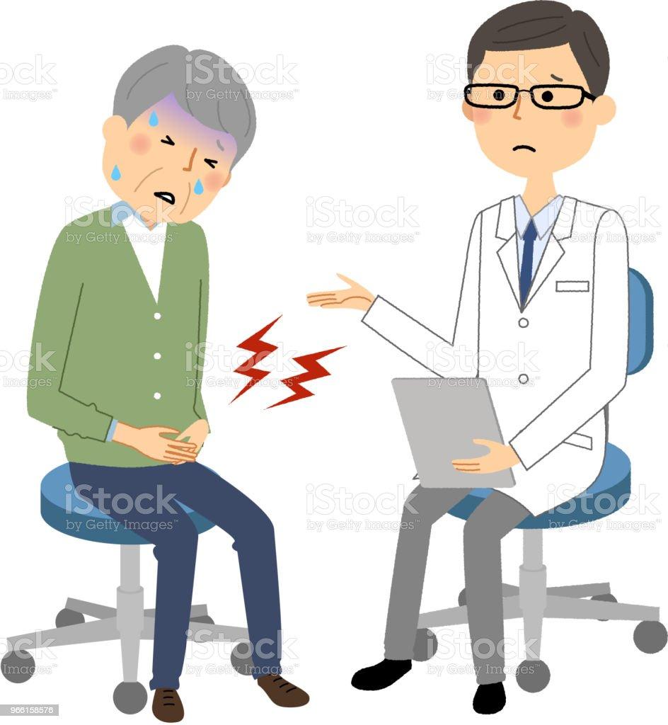 Die Männchen der weißen Kittel, ärztliche Untersuchung, starke Schmerzen - Lizenzfrei Arzt Vektorgrafik