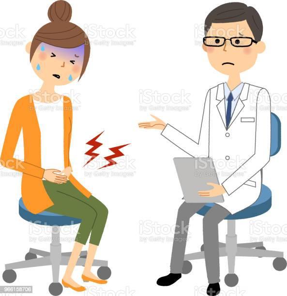 Самец Белого Пальтомедицинское Обследованиесильная Боль — стоковая векторная графика и другие изображения на тему Аптека