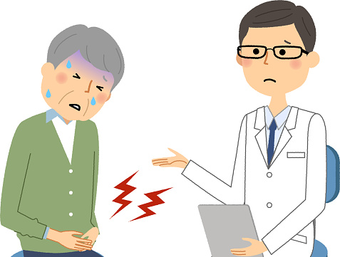 Het Mannetje Van De Witte Jas Medisch Onderzoek Ernstige Pijn Stockvectorkunst en meer beelden van Alleen Japans