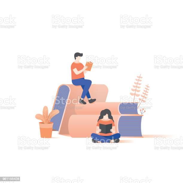 The man and woman reading on book pile illustration vector on white vector id961155428?b=1&k=6&m=961155428&s=612x612&h=7kj9najjatqh8 yyu5ru9hsz0mkdtx3fkyzunzlh iy=