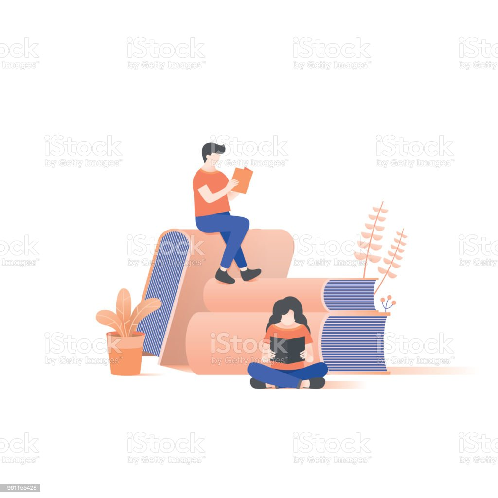 the man and woman reading on book pile illustration vector on white background. vector art illustration