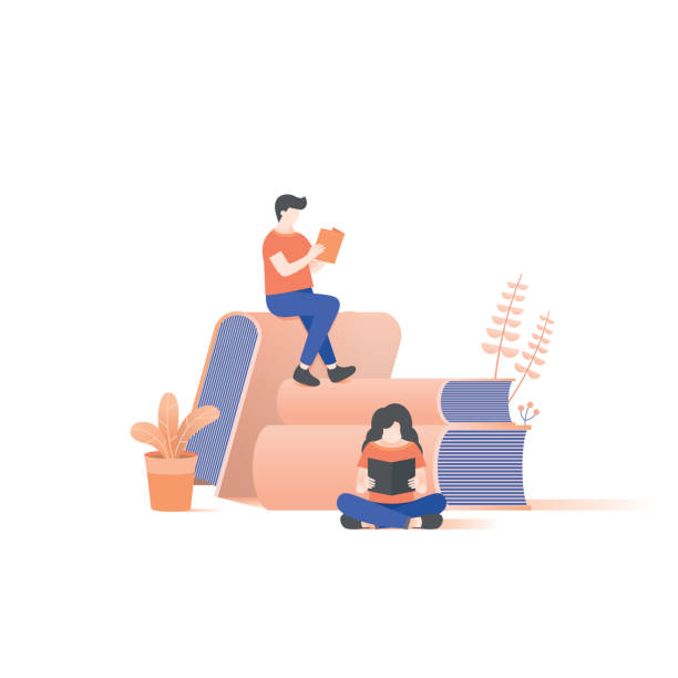 the man and woman reading on book pile illustration vector on white background. - reading stock illustrations