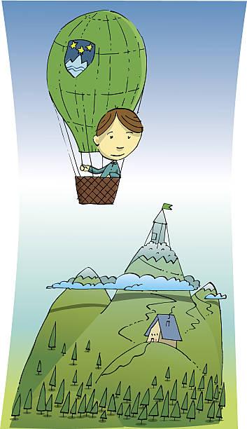 The man flies over the Triglav mountain vector art illustration
