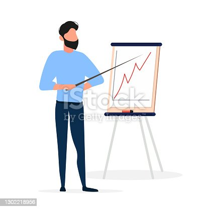 istock The man gives an idea. The guy shows a report with positive dynamics. Board for paper. Infographics. Business growth. Isolated. Vector. 1302218956