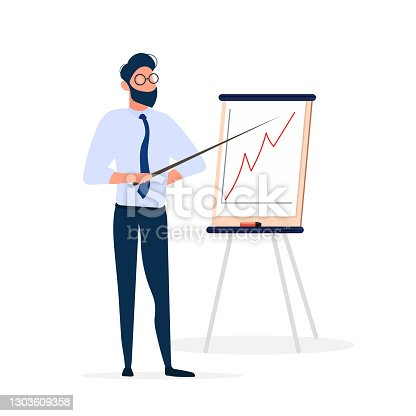 istock The man gives an idea. The guy shows a report with positive dynamics. Board for paper. Infographics. Business growth. Isolated. Vector. 1303609358