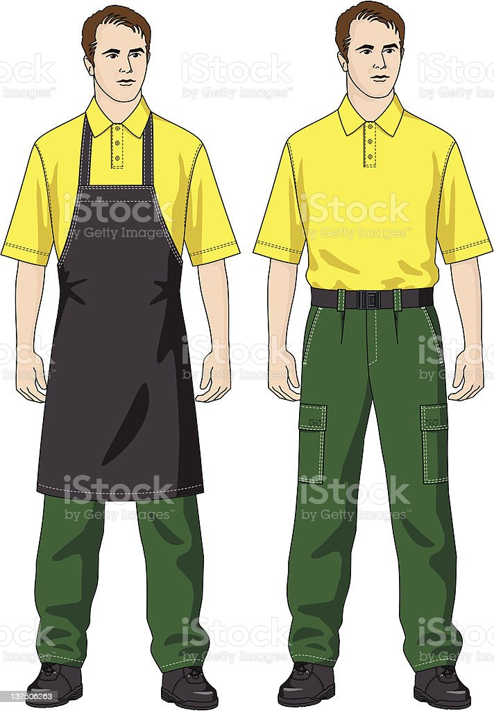 The man in an apron vector art illustration