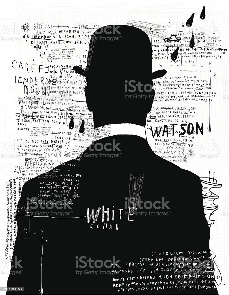 The man in the hat vector art illustration