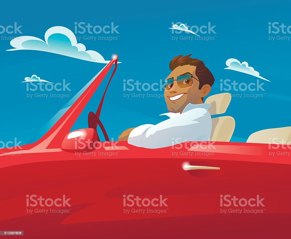 the man in the red car vector art illustration