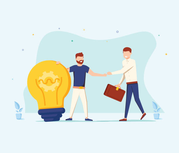 illustrazioni stock, clip art, cartoni animati e icone di tendenza di the man is holding a huge light bulb and shaking hands with a businessman with briefcase. startup and search investments - azienda partner