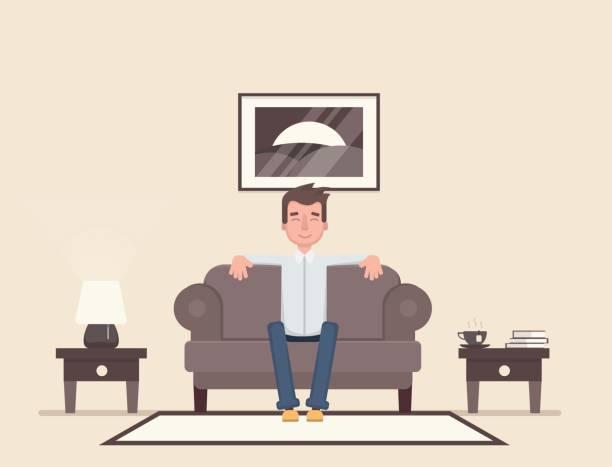 der mann sitzt im raum und ruhe. - couch stock-grafiken, -clipart, -cartoons und -symbole