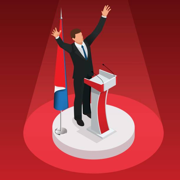 the man is the winner in the elections. presidential elections - presidential debate stock illustrations