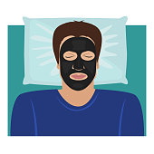 The man lying with a black clay or carbon peeling mask on the face. Vector beauty illustration