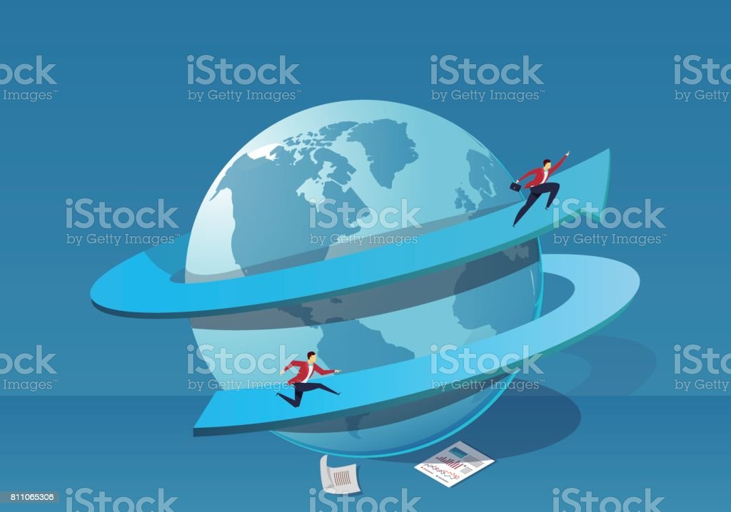 The man running along the earth vector art illustration