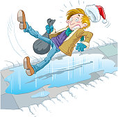 The man slipped on the ice, falls