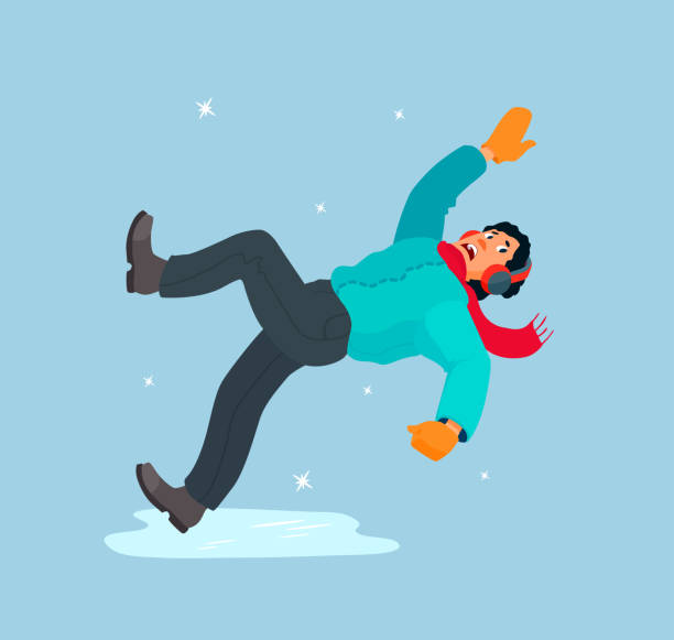 The man slipped on the ice, falls, waving his hands, scared. Dangerous ice, slippery winter road. Boy in a down jacket, scarf, headphones, mittens. slippery stock illustrations