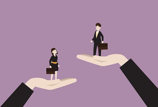 The manager raises a businessman higher than a businesswoman