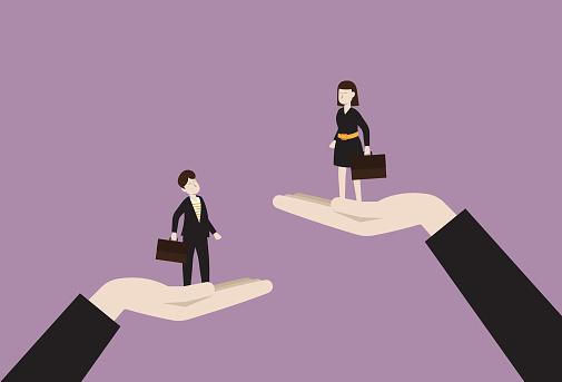 The manager raises a businesswoman higher than a businessman