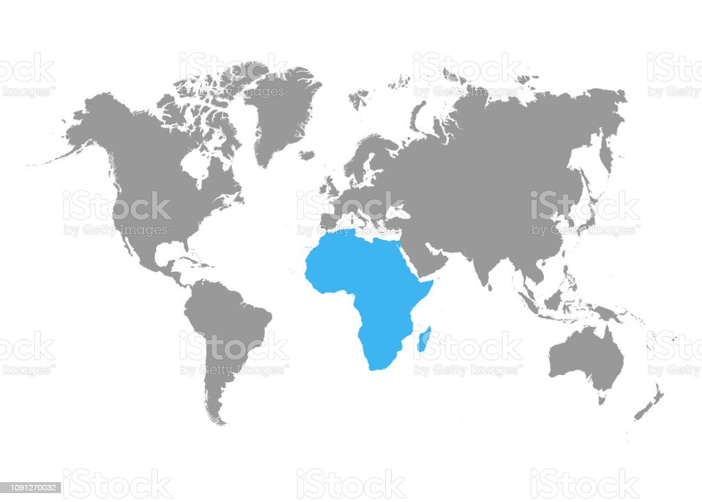 The Map Of Africa Is Highlighted In Blue On The World Map Stock