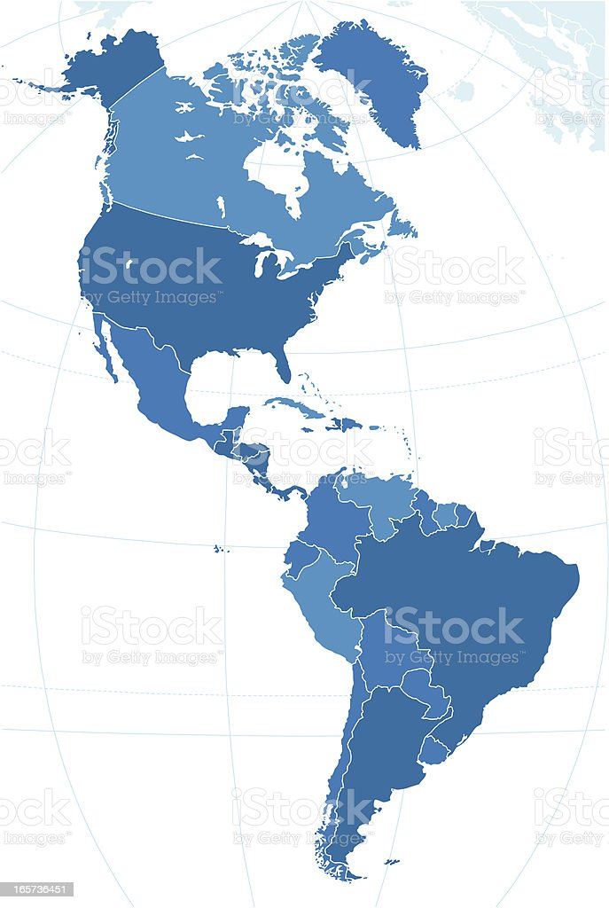 The map of Americas. vector art illustration